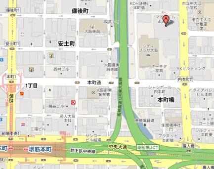マイドーム大阪への地図